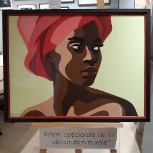 Illustration de Mathilde Crétier, portrait de femme africaine, impression beaux-arts par Parisgraphie, encadrement par Artem Nantes, double baguette et verre musée